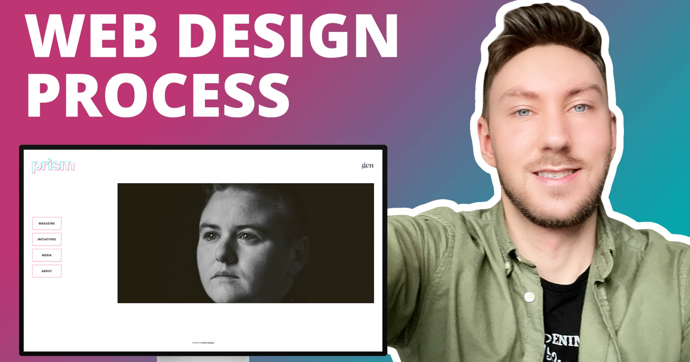 "A picture of prism website on the left side with the words ""web design process"" above and Aidan Quigley smiling in a green shirt to the right"