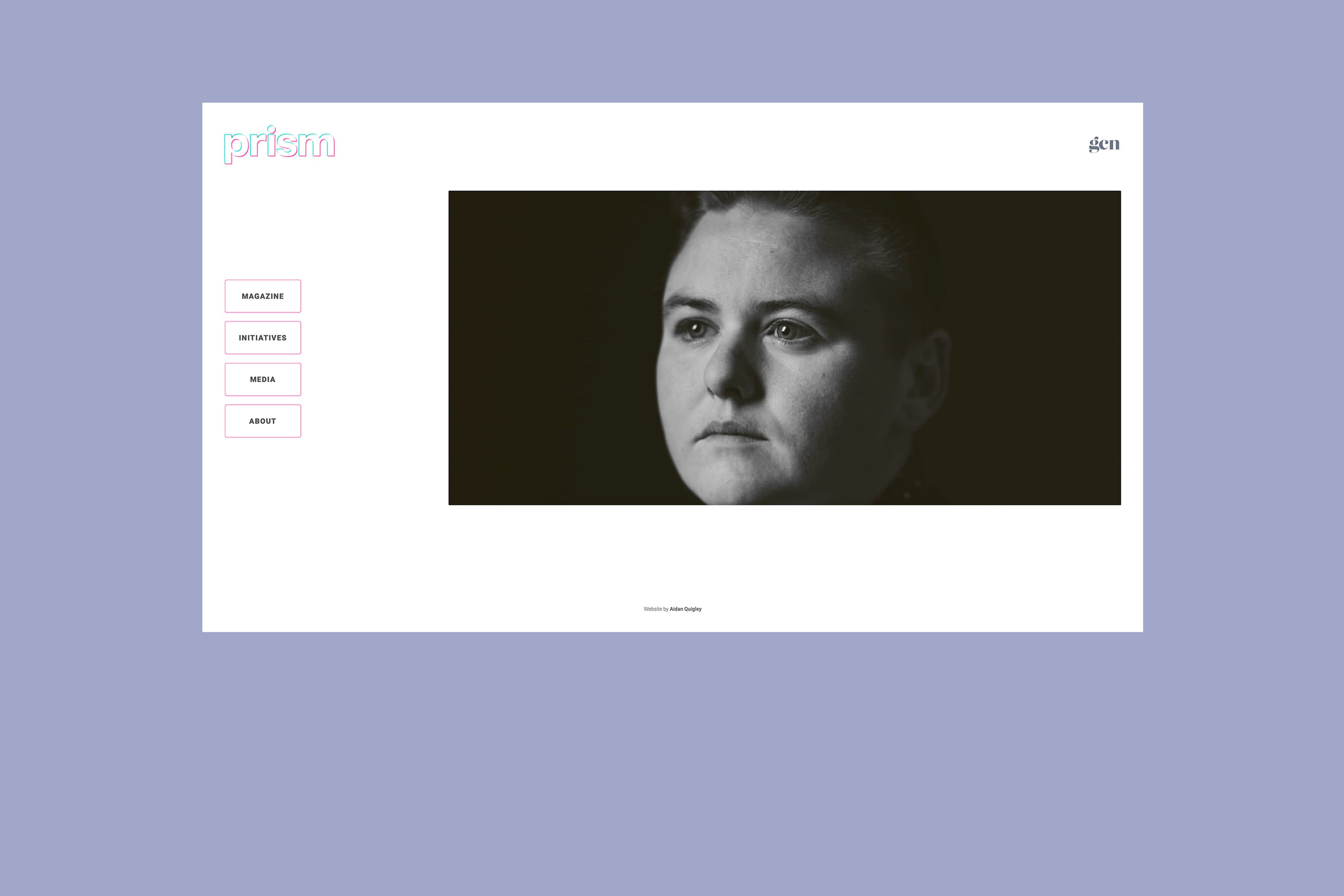 An image of the Prism exhibition site on a purple background, whose web design and development was done by Aidan Quigley.