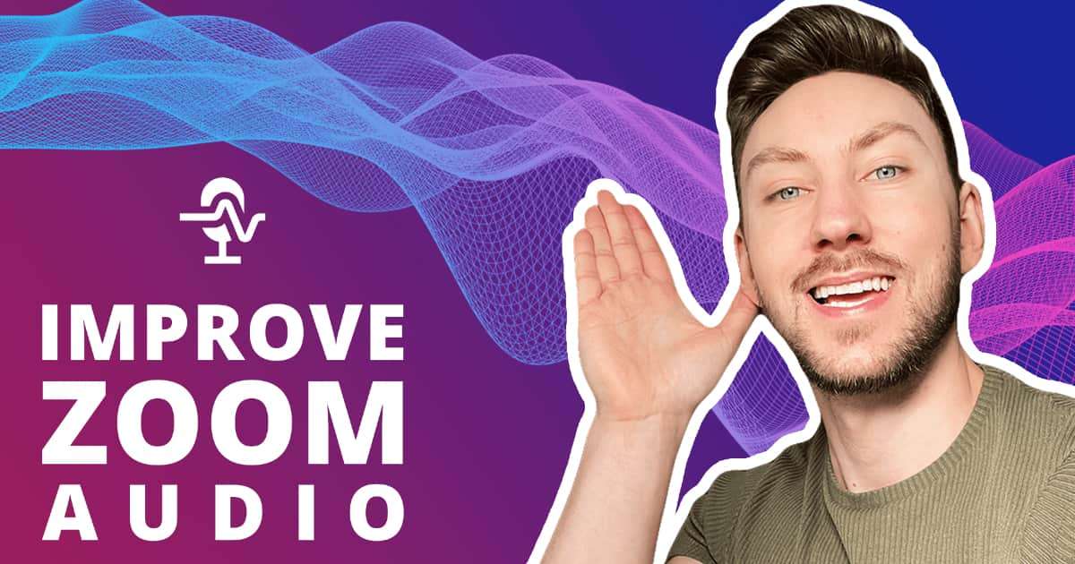 A picture of Aidan Quigley smiling and with his hand beside his ear and audio waves behind him to represent how to improve zoom audio quality