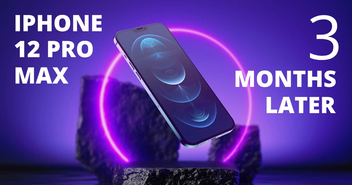 An iPhone 12 Pro Max floating over a black rock with neon lights behind it to represent the question is iPhone 12 Pro Max worth buying?