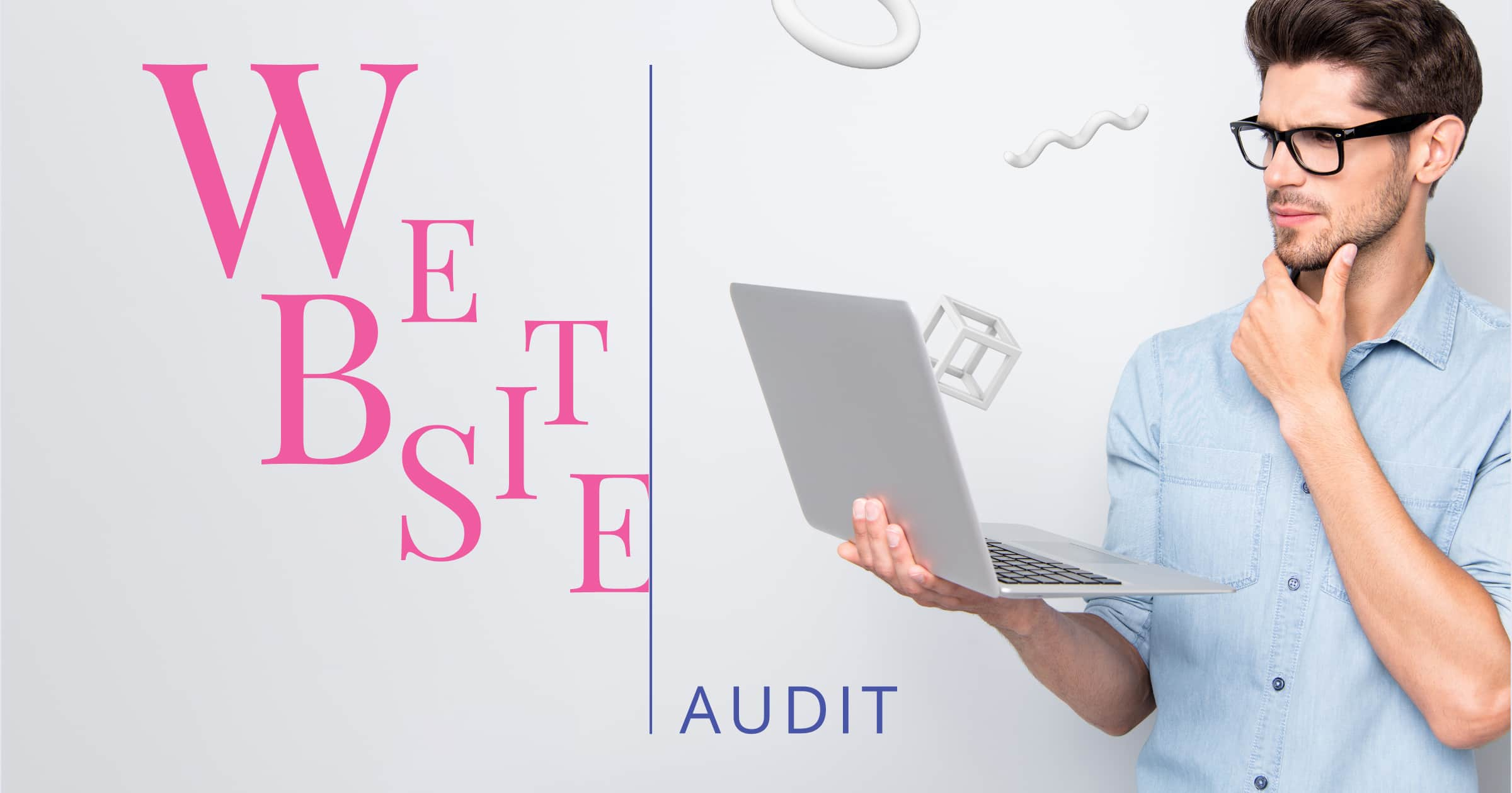 A graphic with the words 'win a website audit' and a man holding a laptop with glass on and objects flying out of the computer screen.