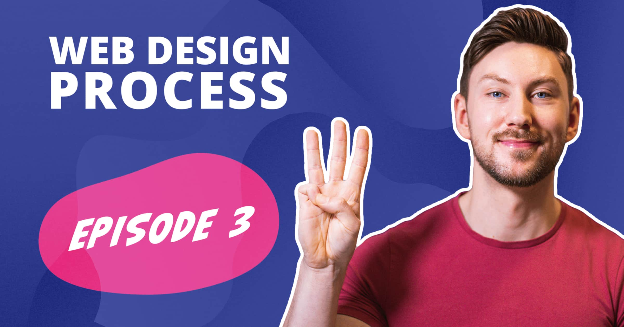 A picture of Freelance Web Designer & Branding Specialist Aidan Quigley holding 3 fingers up and the words web design process Episode 3 on a purple bacgkround
