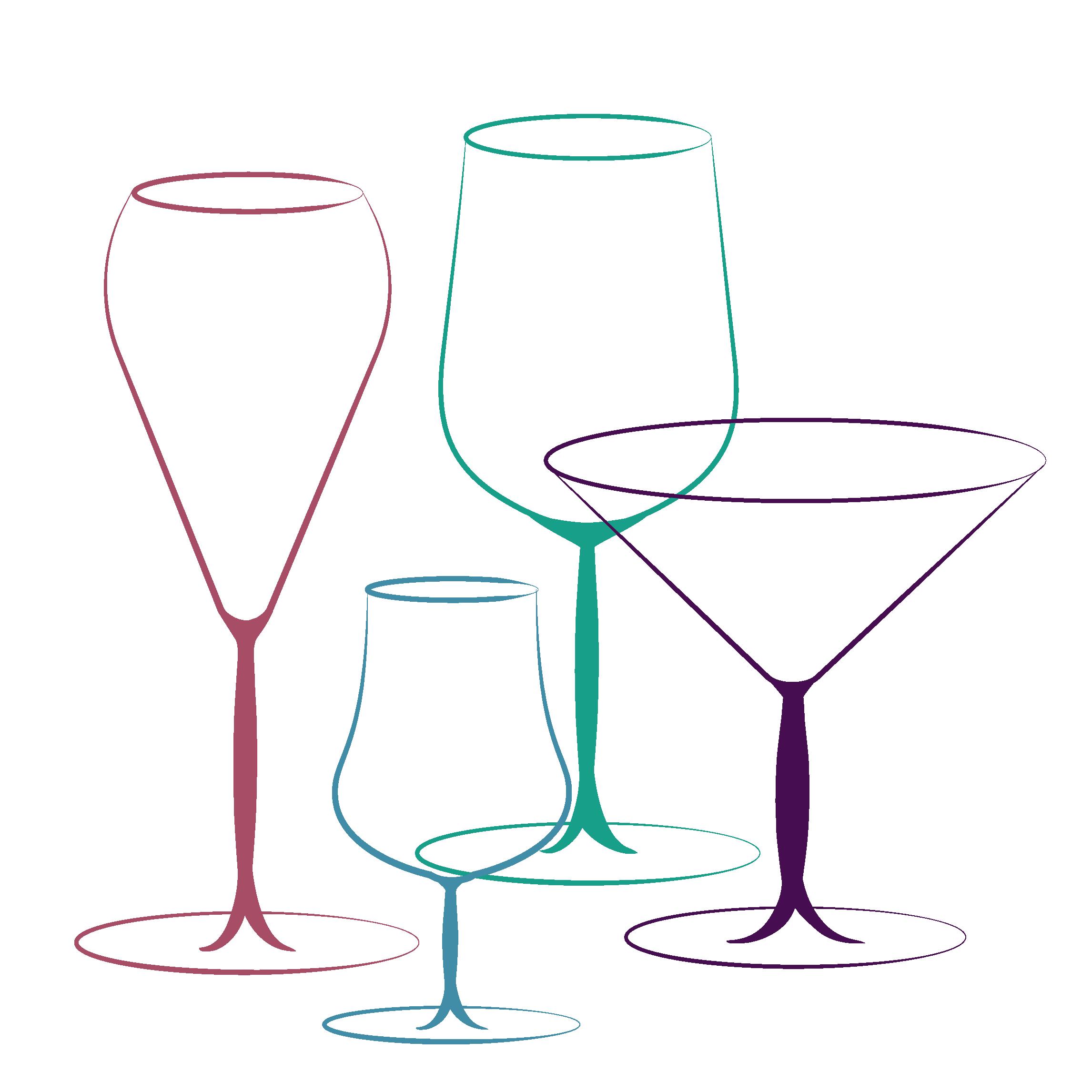 Drawings of cocktailglasses