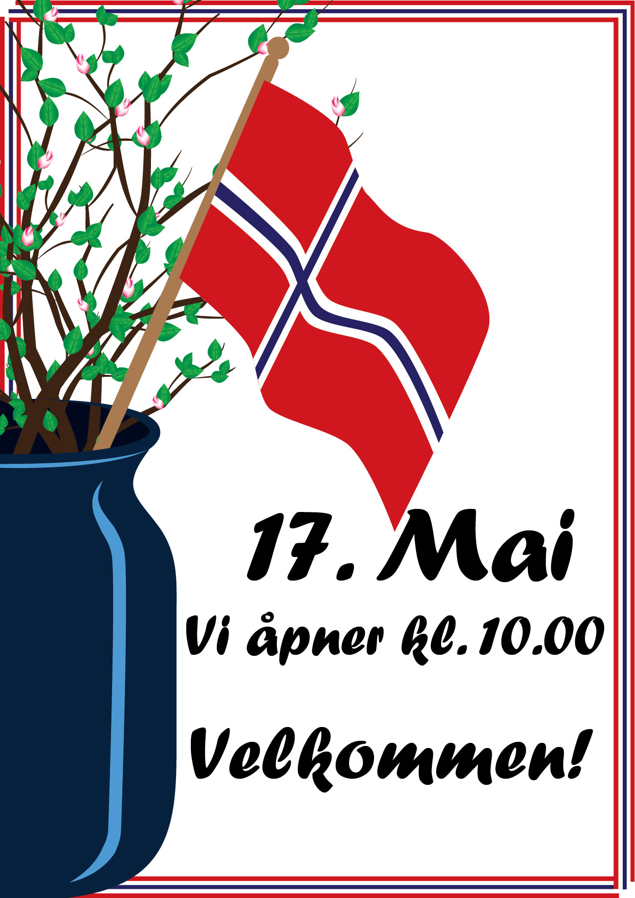 Poster for Norways constitution day, a blue vase filled with springgreen branches and a Norwegian flag