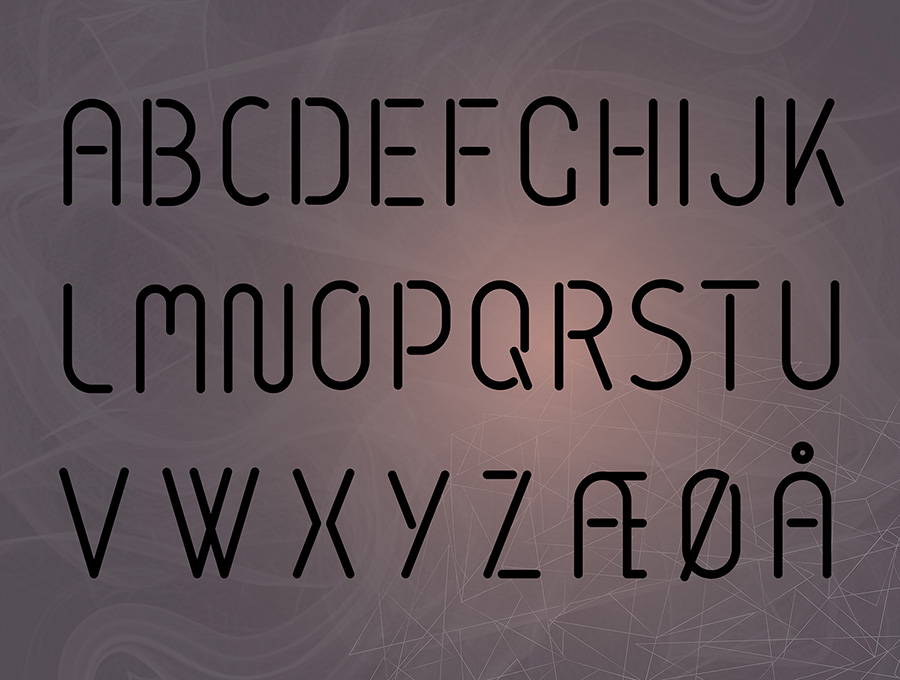 The alphabet written in the typeface i made specially for analogstøy