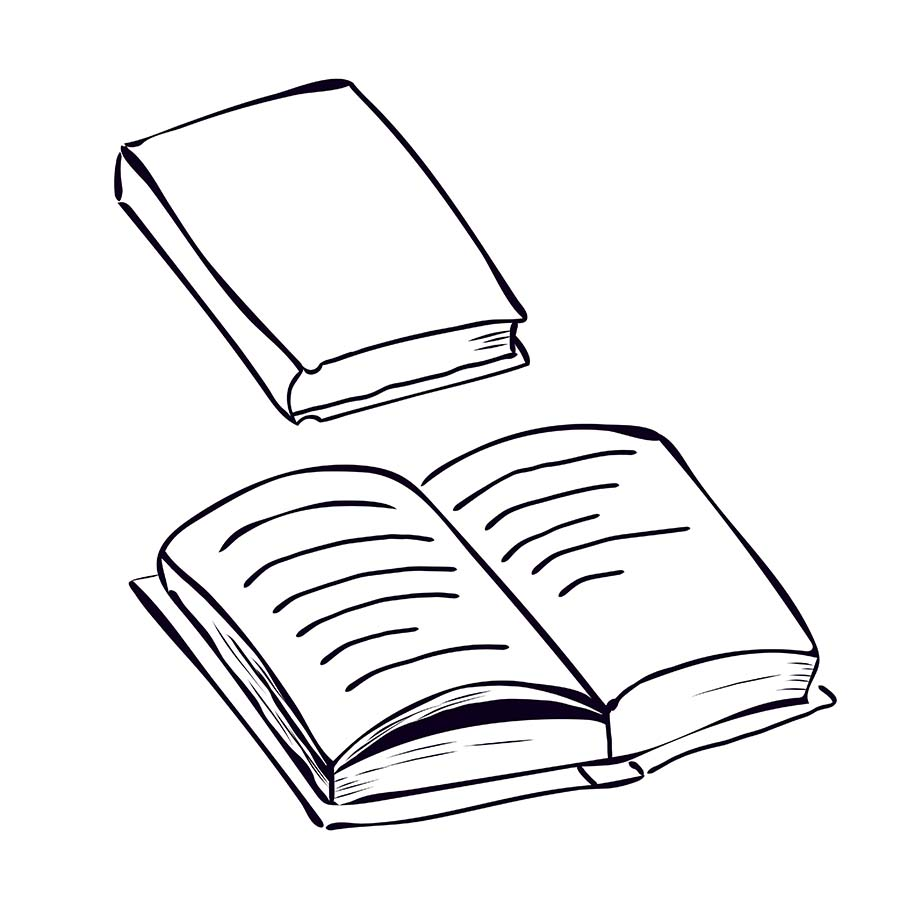 Illustration of one closed and one open book