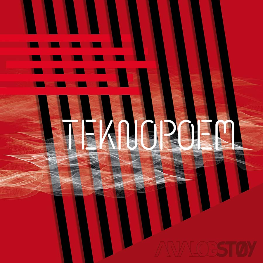 Single cover, red with black and red lines and white smoke