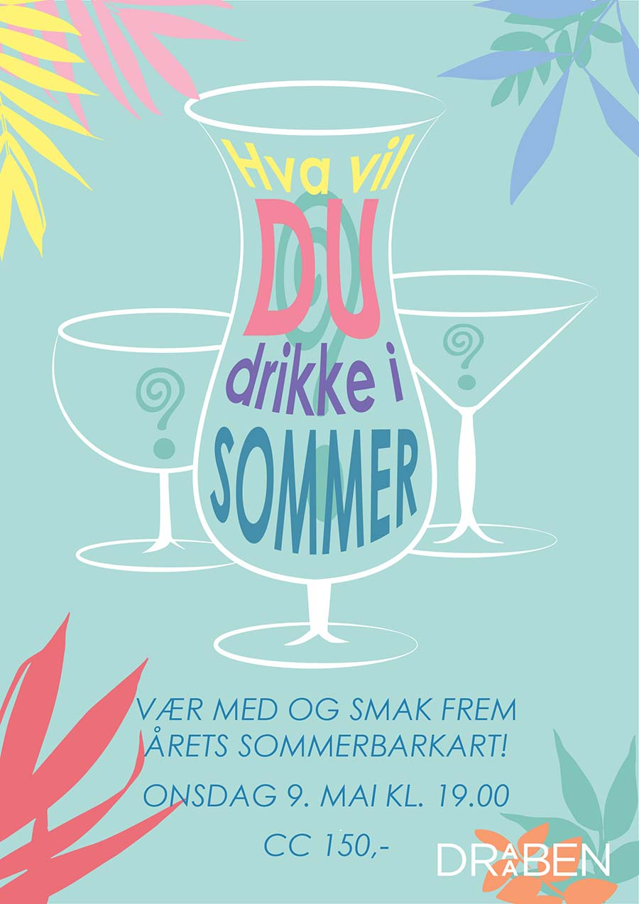 Poster summer cocktail tasting, light turquoise background with colorfull foilage in the corners with cocktail glasses in the middle