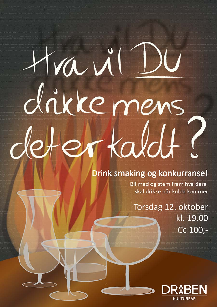 Poster for cocktail tasting winter season. Brick wall with a fire infront of it and a tble with empty cocktail glasses