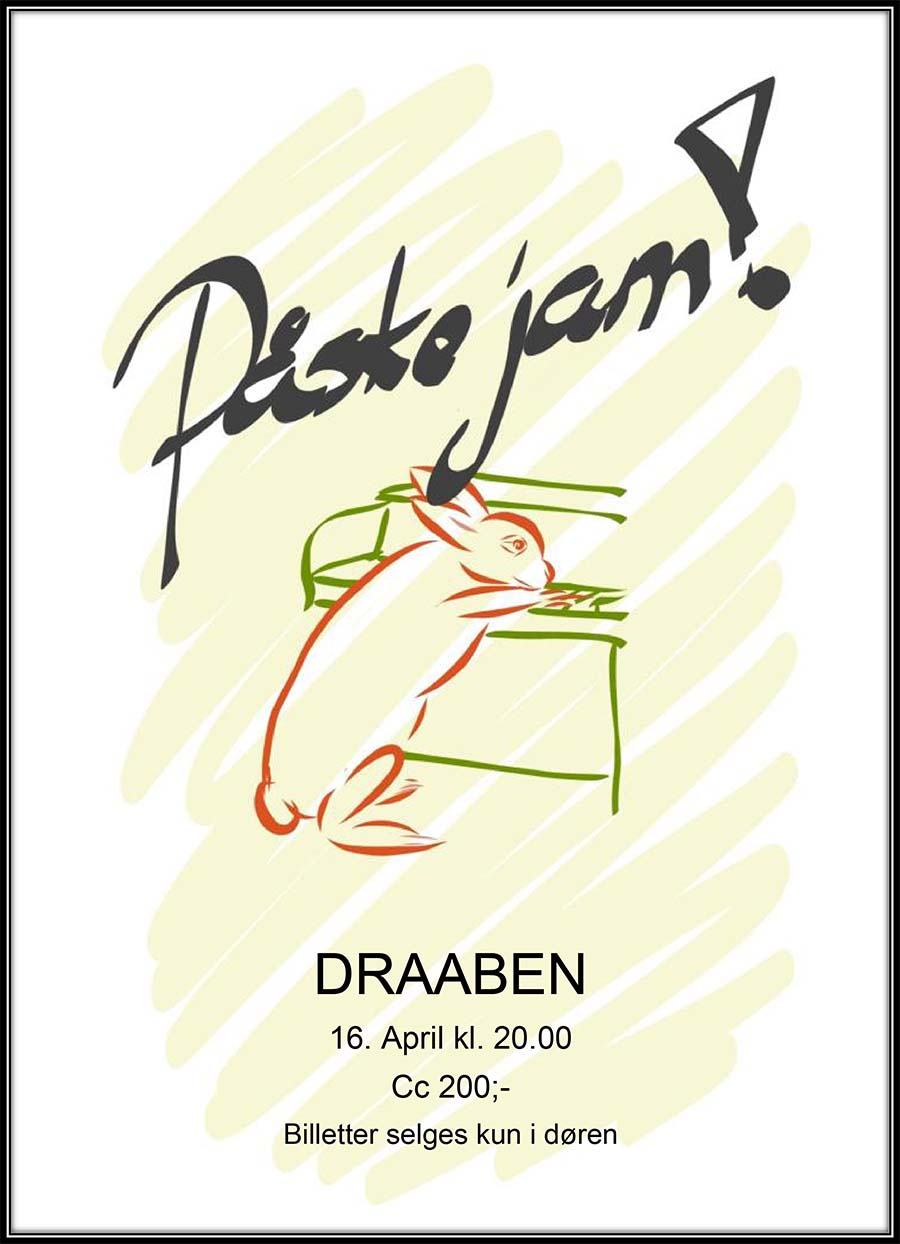 """Poster """"Easter jam"""" hand written title and hand drawn bunny playing the piano"""
