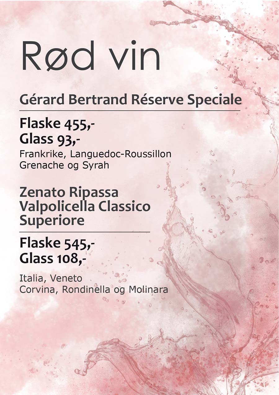 Menu with light red splashes and spatter as a background for red wine