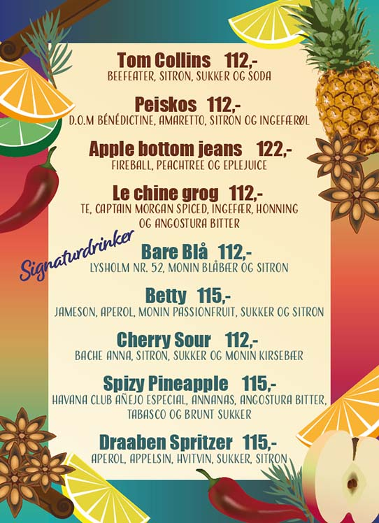 cocktail menu with colourfull border decorated with the significant fruits and spices that give flawours to the cocktails