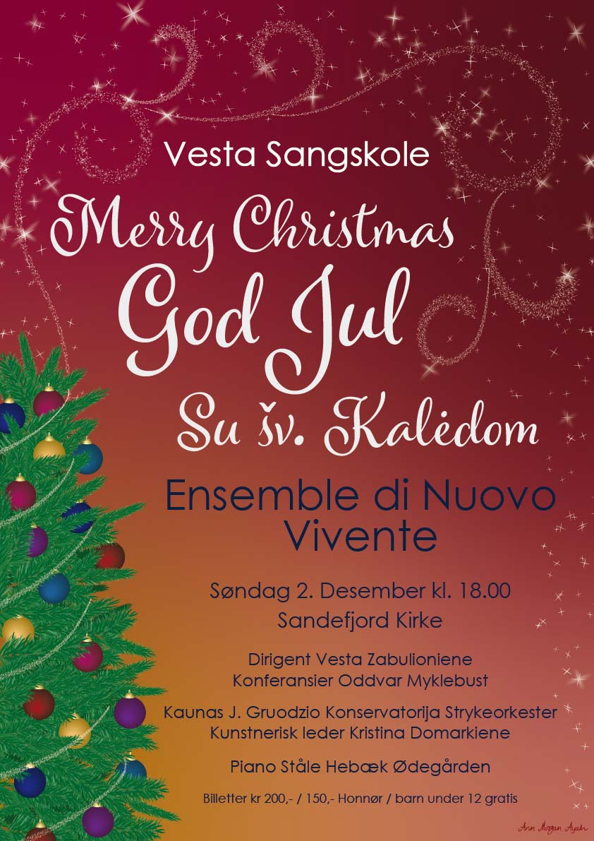 """Poster """"Merry christmas"""" red and yellow gradient background, with a christmas tree on the side and swirls of stars."""