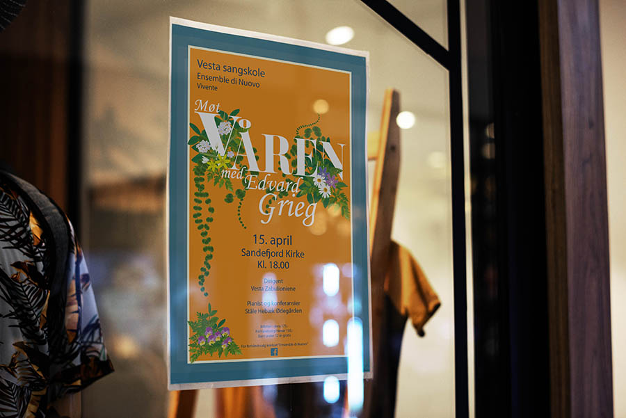 """""""spring with Edvard Grieg"""" poster in store window"""