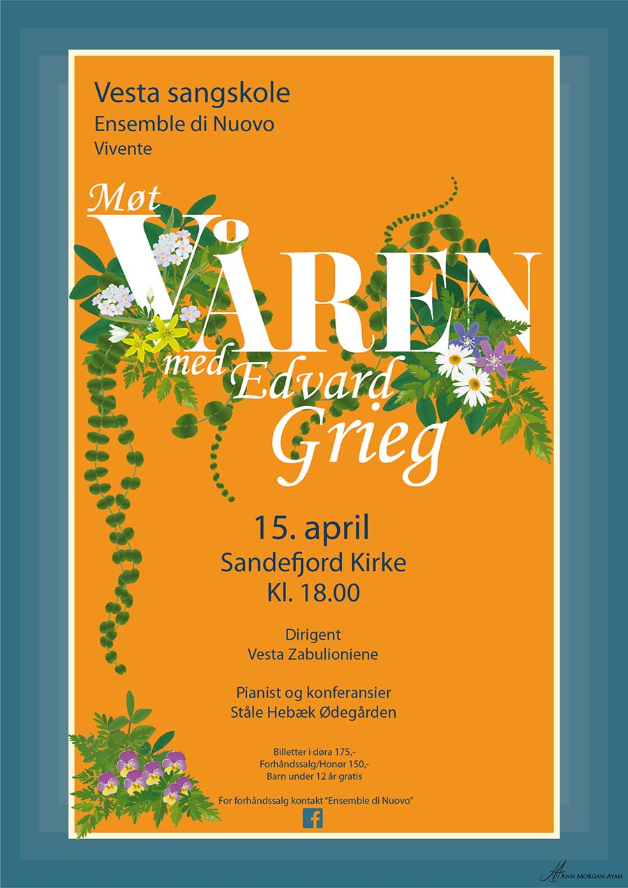 """Poster """"Spring with Edvard Grieg"""" warm yellow background with broad teal-blue border. White title with norwegian wild flowers and foliage"""