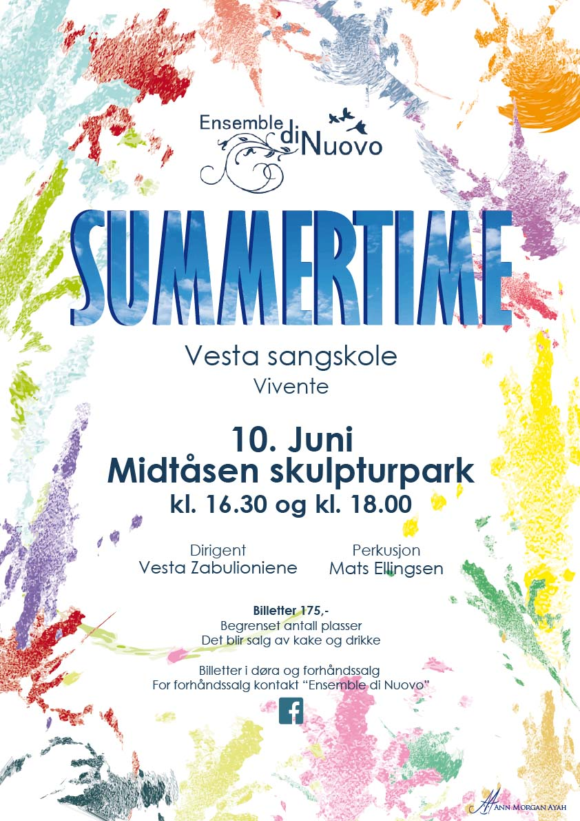 """Poster """"Summertime"""" white background with colourfull spashes in bring colours, title containing summerskies with clouds"""