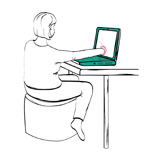 Illustration of a girl infront of a computer