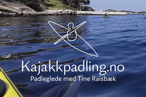 Kajakkpadling.no logo on a pictutre of water
