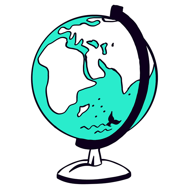 Geography illustration for course page - Globe