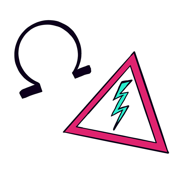 Electro illustration for course page - Ohm and high voltage symbols