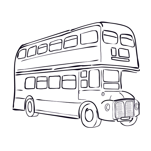 English illustration for course page - Iconic London buss