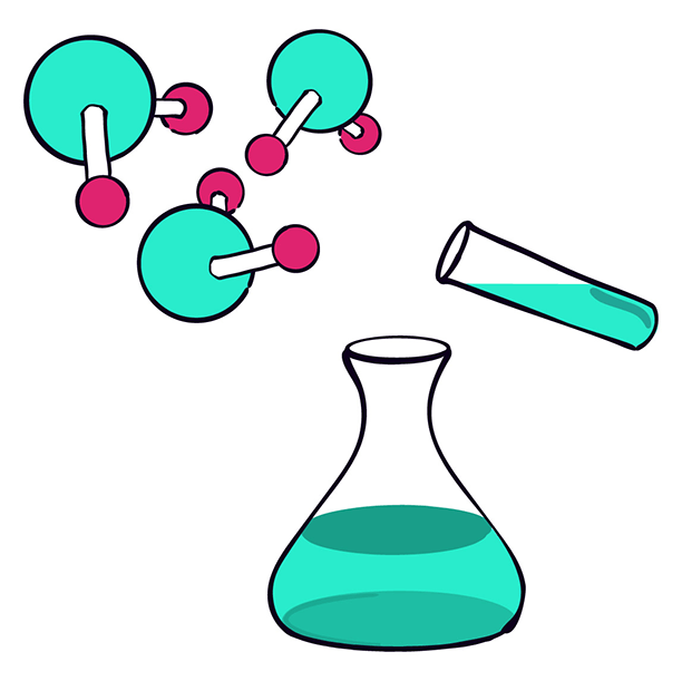 Chemistry illustration for course page - H2O molecules, test tube and flask
