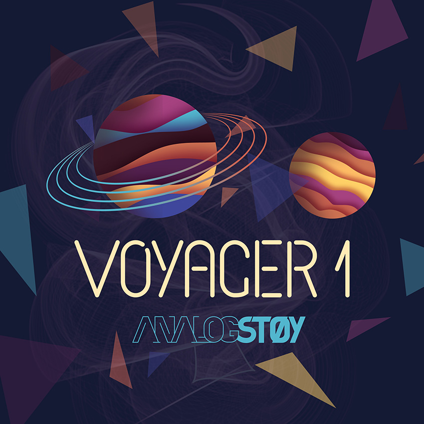 Single cover dark blue background with colourfull planets and triangles