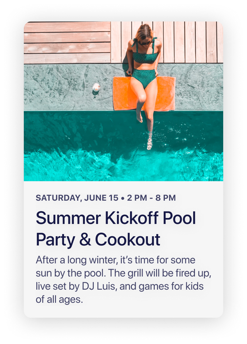 HOAM - Upcoming Activity - Pool Party
