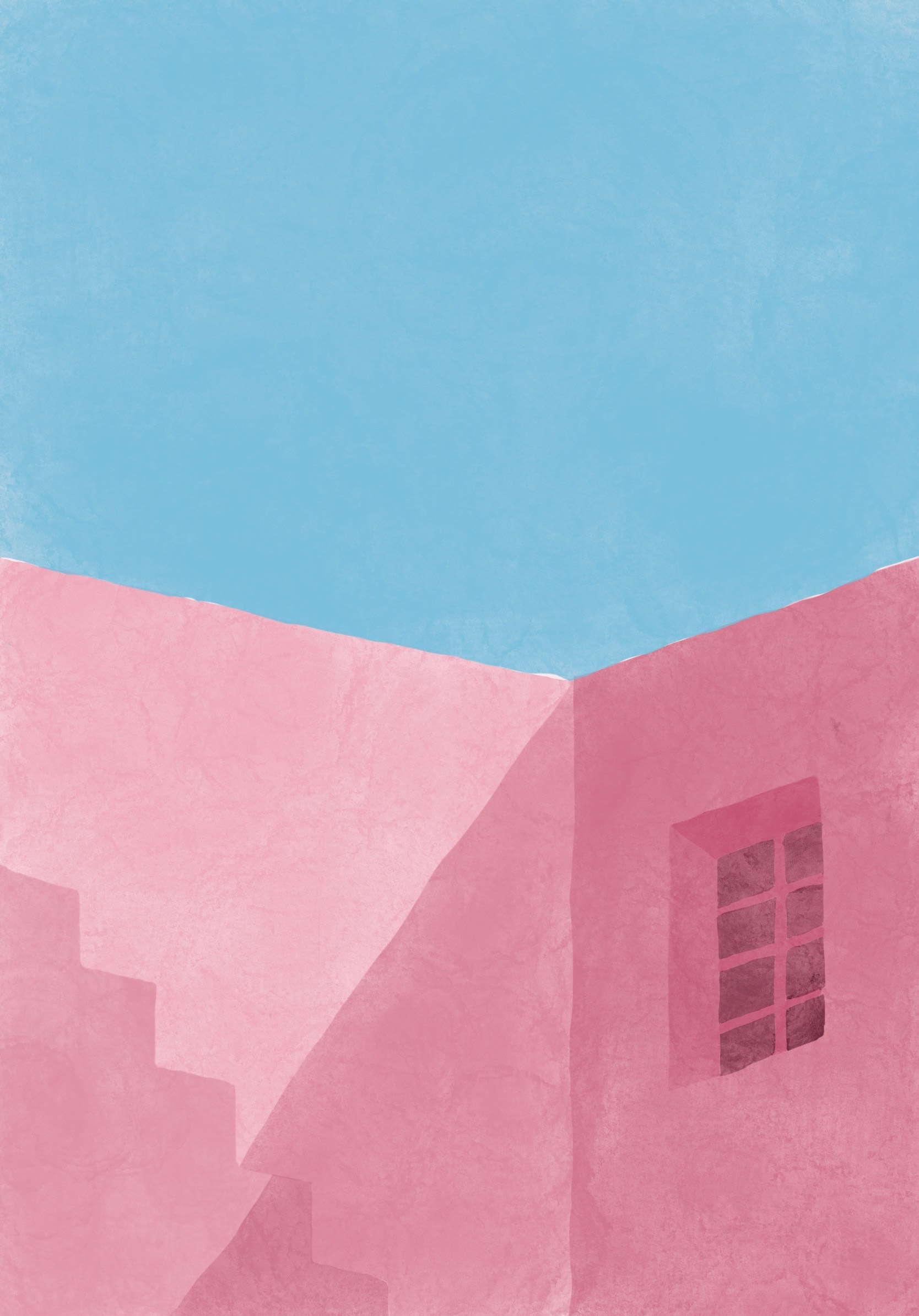 A pink mediterranean building under a clear blue sky with shadows bouncing off the edges of the building