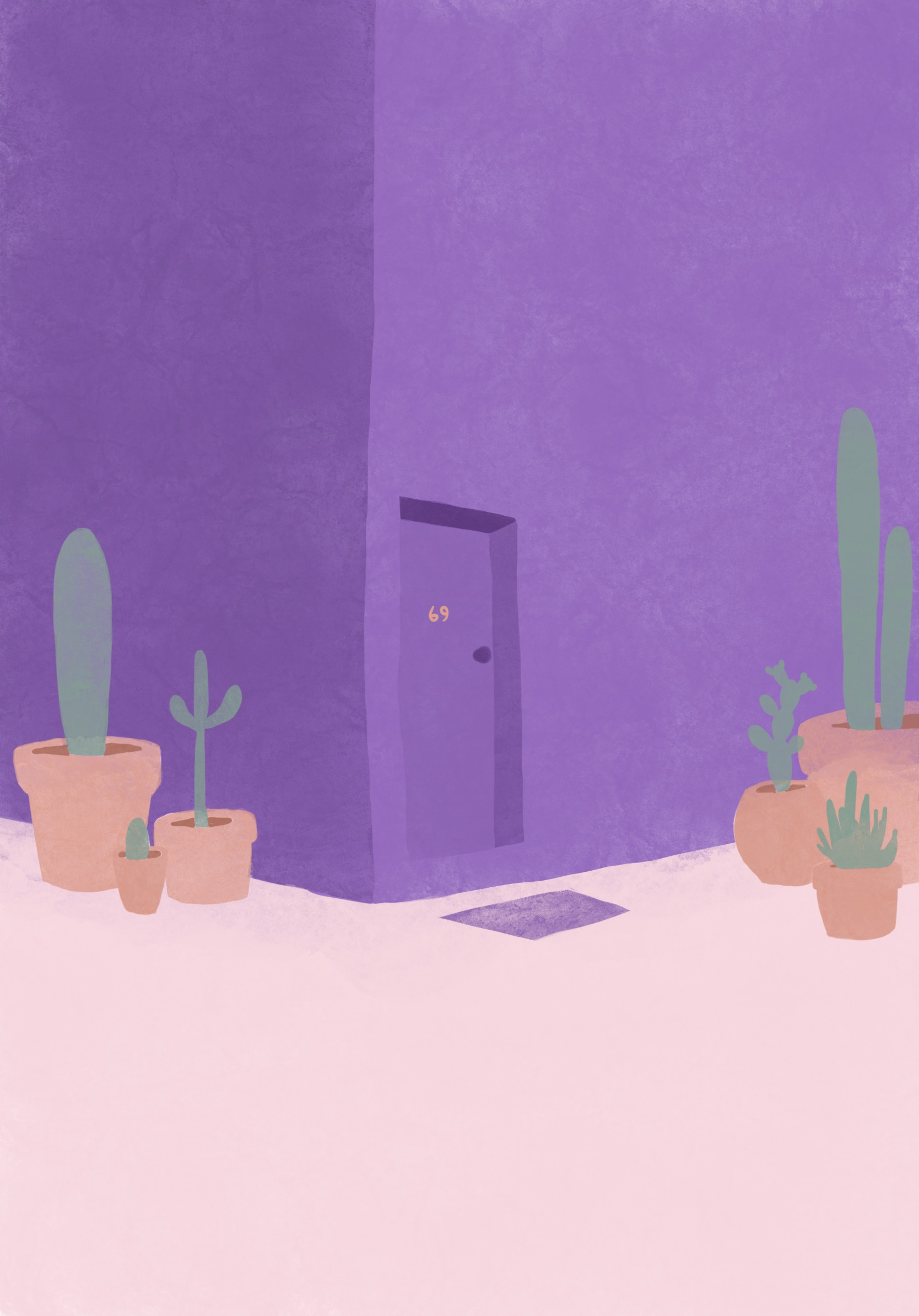 A purple building, with a front door that says 69 on it. Outside of the building are an assortment of terracotta pots that have large cactuses/cacti in them.