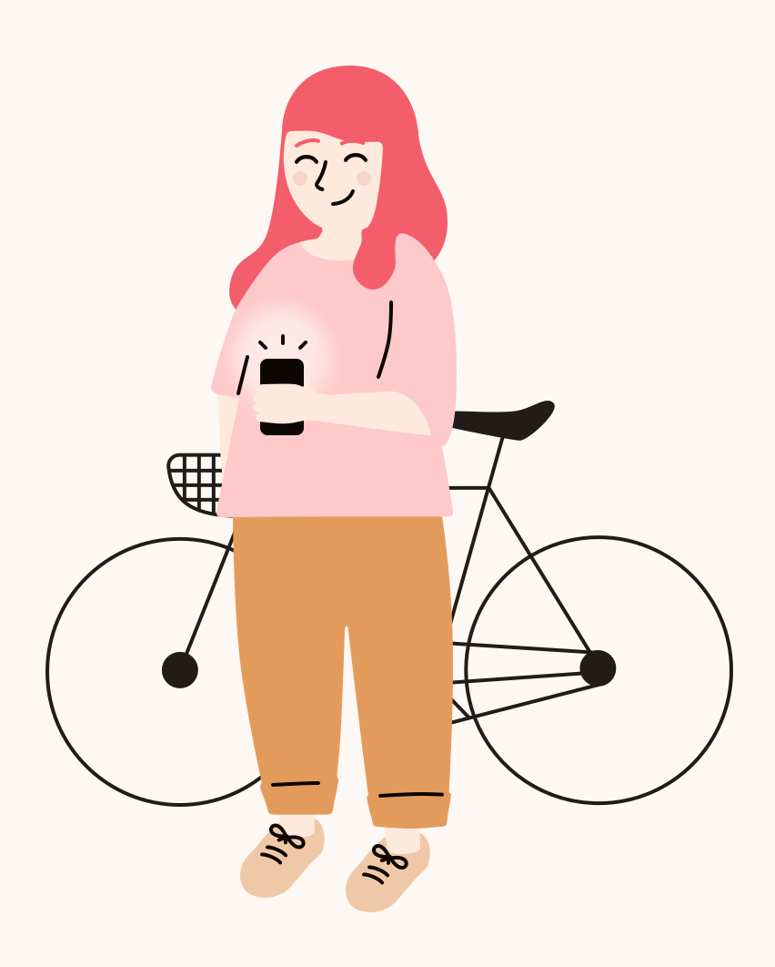 A friendly looking illustration of a young woman with bright pink hair who is smiling, wearing a pink t-shirt and a brown pants. Standing next to a bicycle and holding a cellphone.