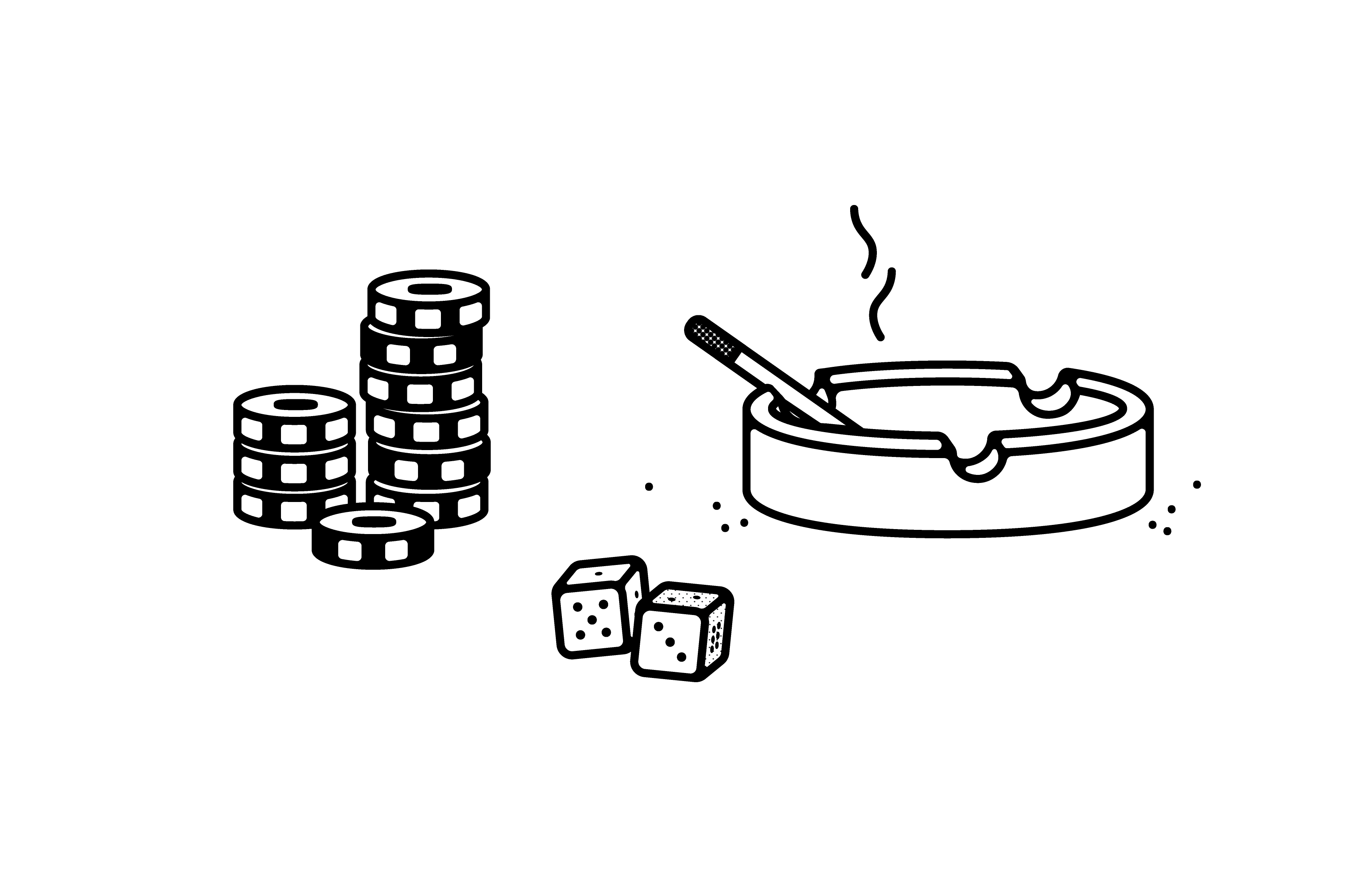 A neatly drawn illustration with a white background. Poker chips, a pair of dice and a lit cigarette in an ash tray.