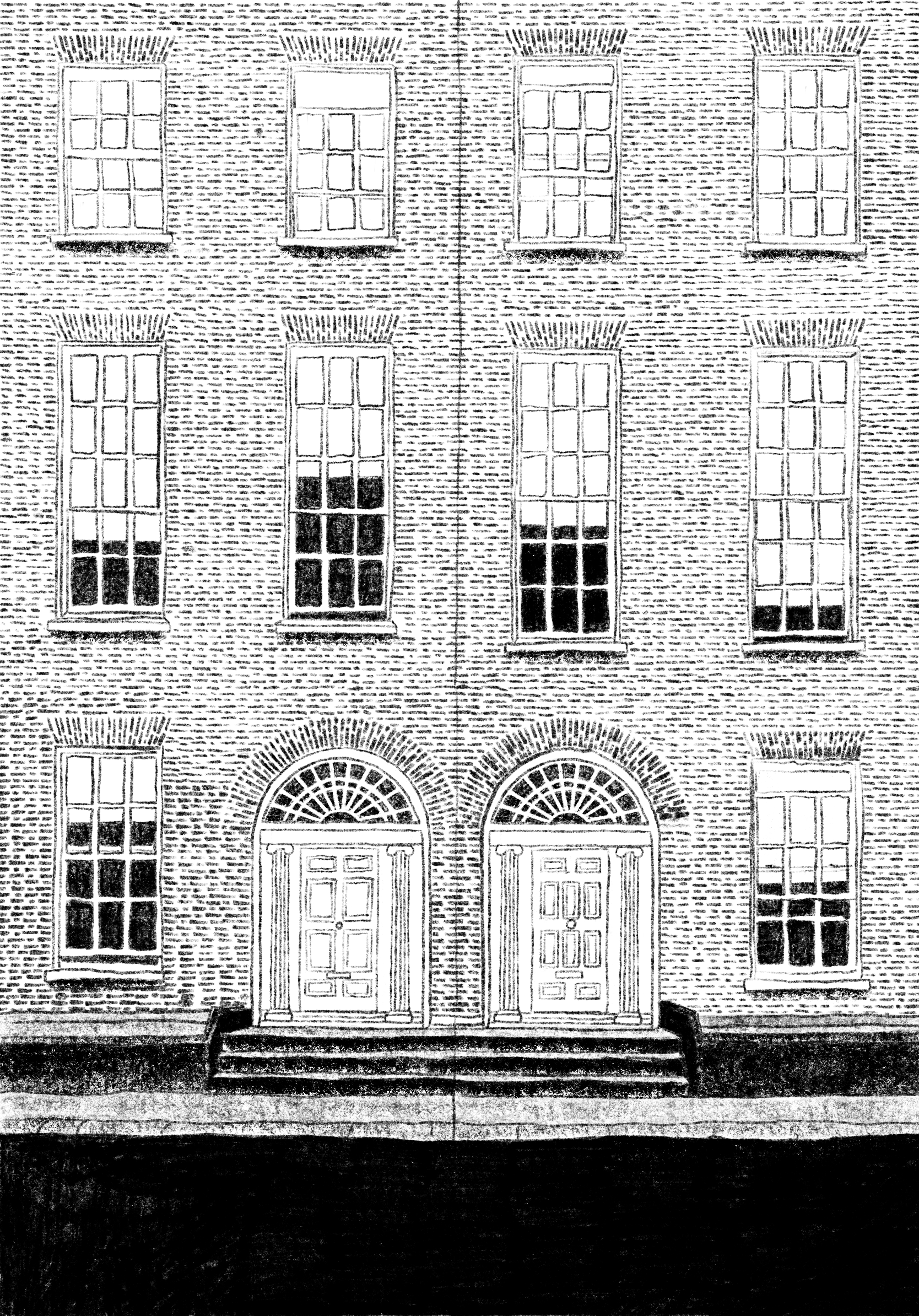 A black and white pencil drawing of a 3 story brick apartment building and 2 front doors right next to each other, drawn straight-on from the street. Ornate brick work frames each of the large windows and doors, making it look european.