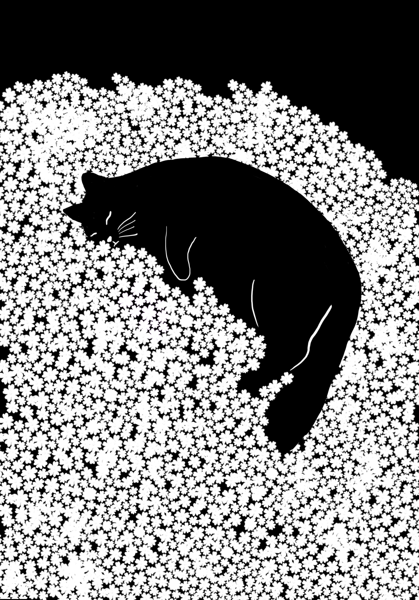 A black and white illustration of a cat sleeping on a bed of flowers.