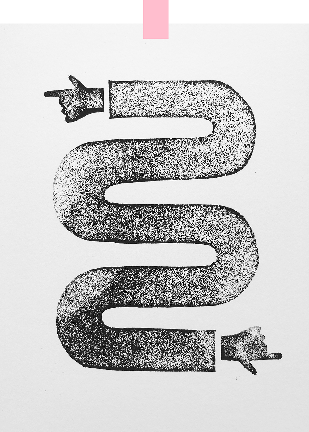 A hand pointing one way, with a squiggly line that ends in a hand pointing the other way at the bottom of the page. Black on a white background, with a textured, printed quality to it.