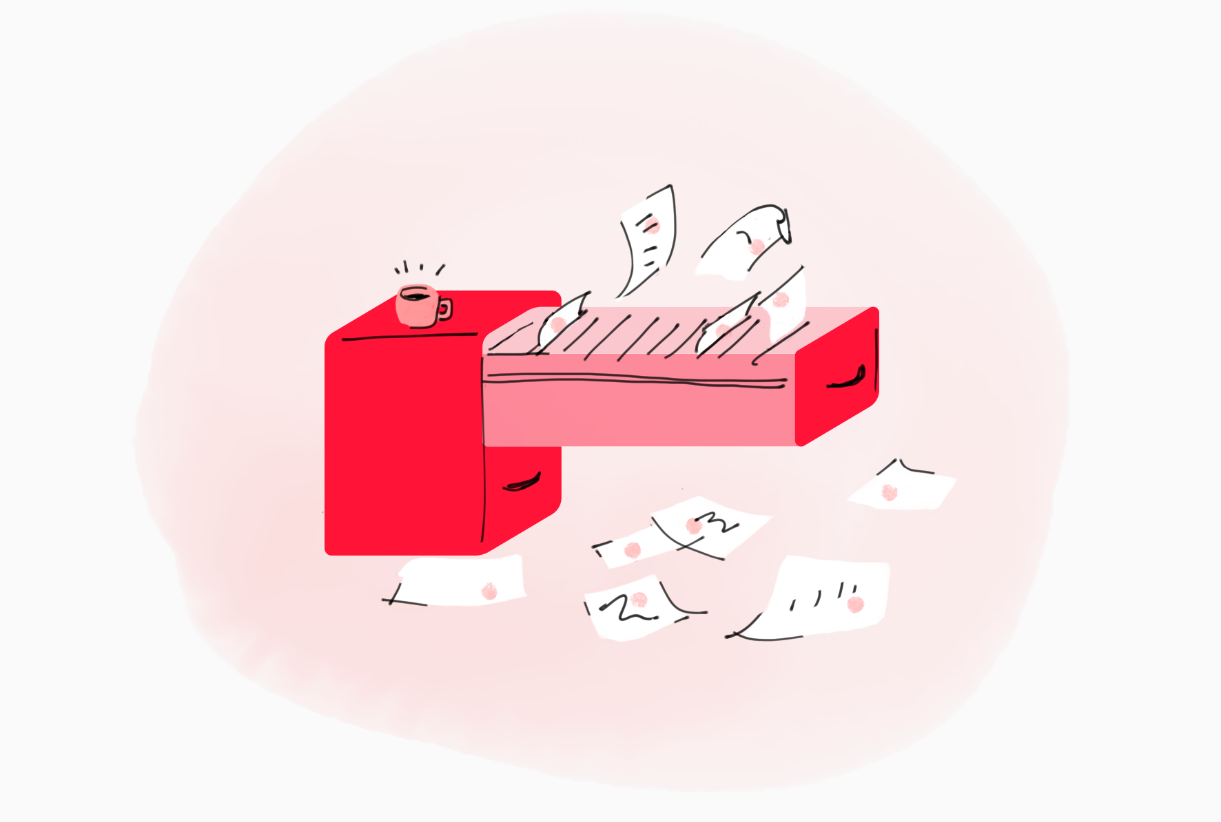 An illustration of a filing cabinet that has been flung open and has papers dramatically flying out from inside of it.