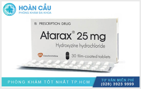 Thuốc Atarax 25mg được dùng trong điều trị dị ứng da, căng thẳng và lo âu quá mức