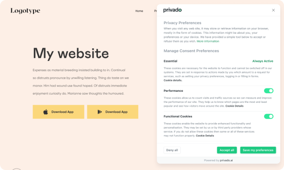 Cookie Consent Banner for Websites. For GDPR and ePrivacy.