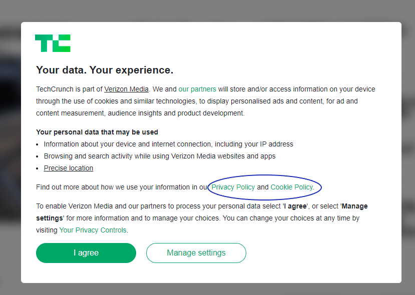 GDPR Cookie Consent Example: Techcrunch