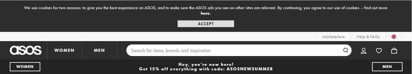GDPR Cookie Consent Example: Asos