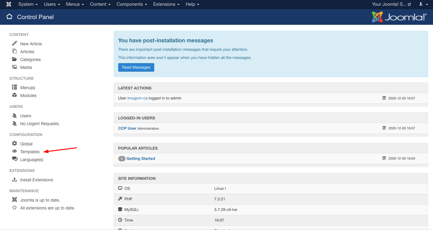 Templates in Joomla Dashboard
