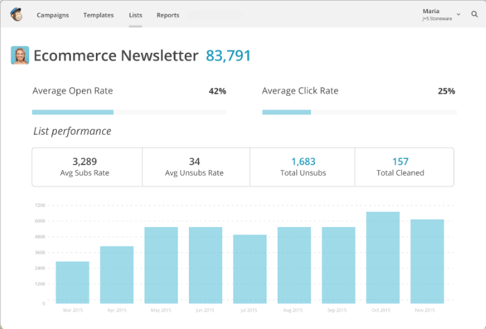 Image result for mailchimp interface screen