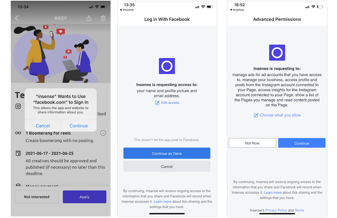 Insense App Giving Whtelisting Permissions