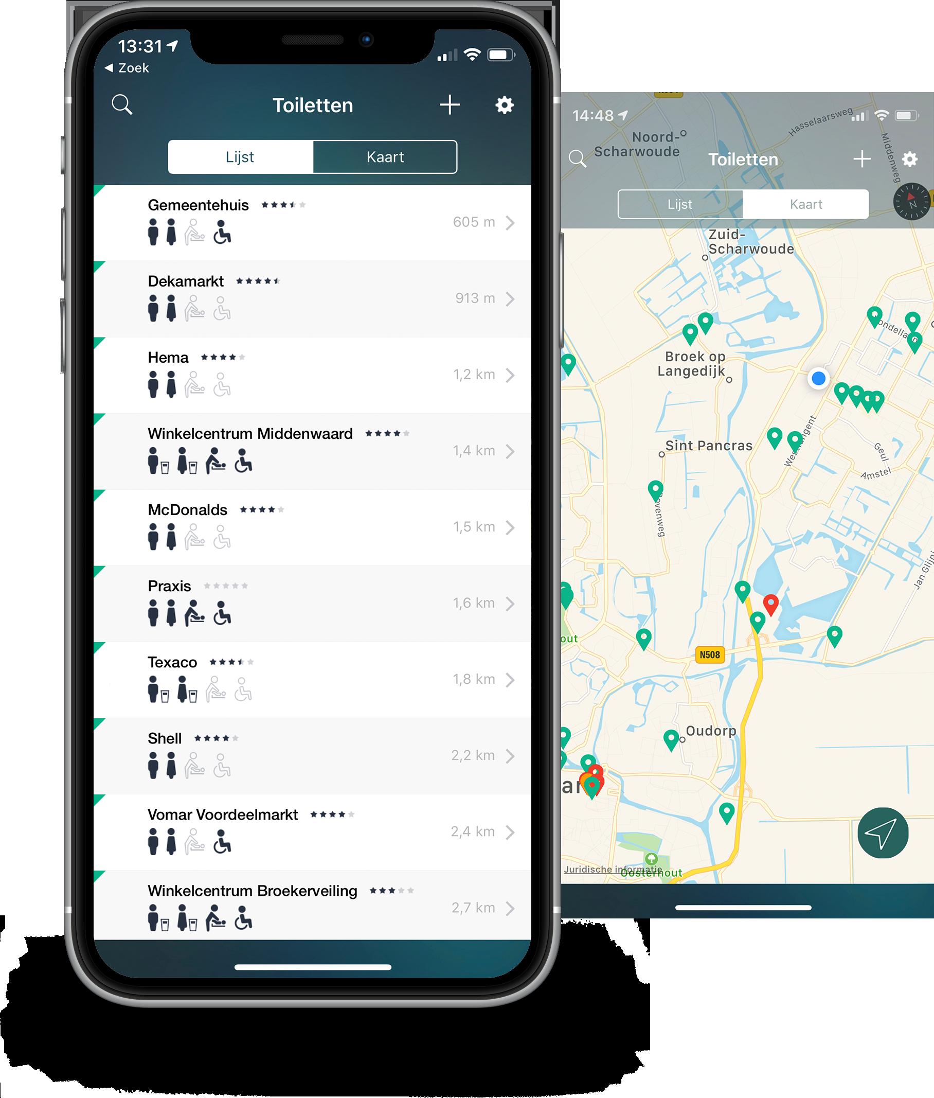 HogeNood App screenshot of the map feature