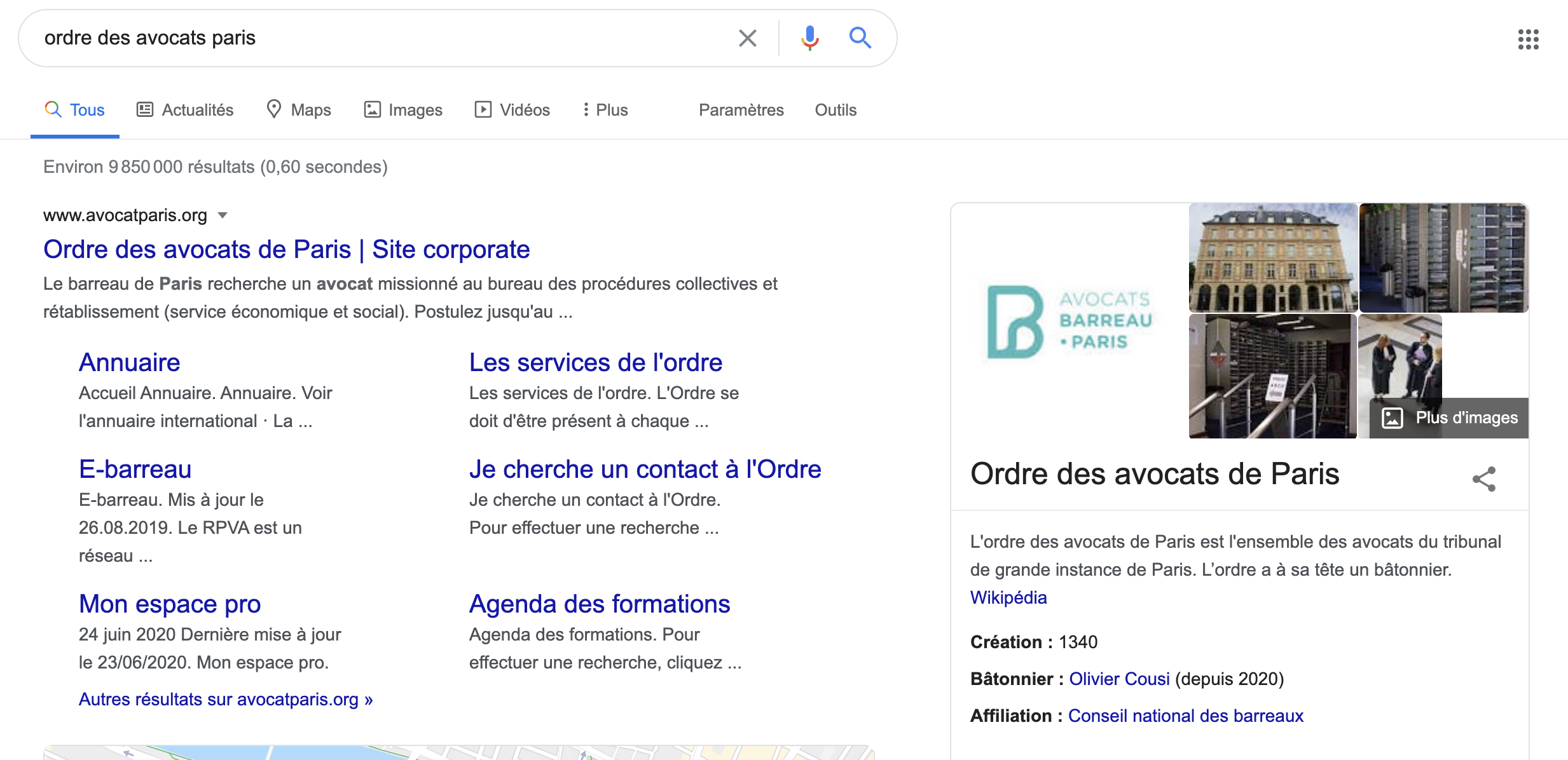 Exemple Avocat Google my business