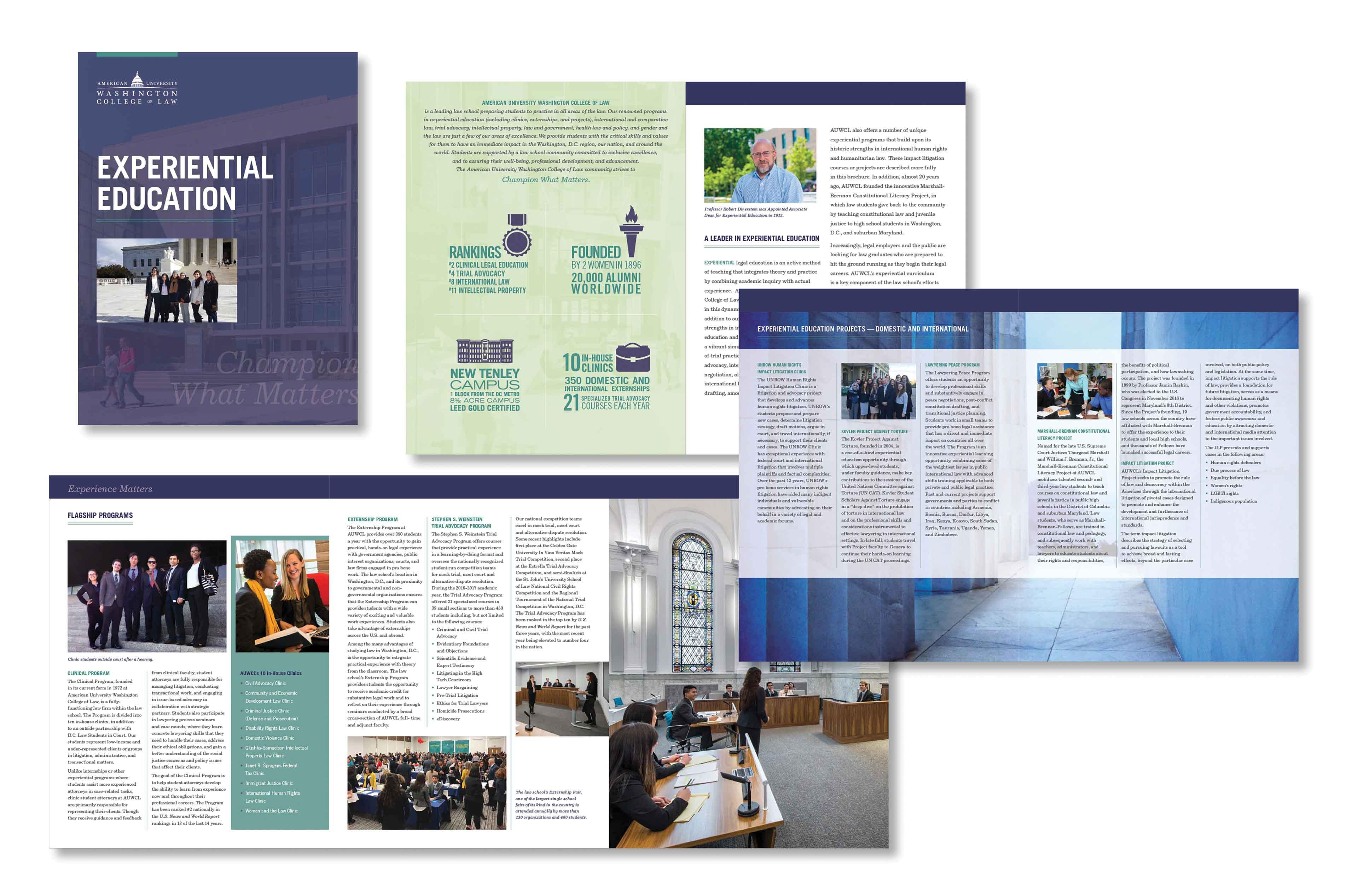 University law school trial advocacy brochure