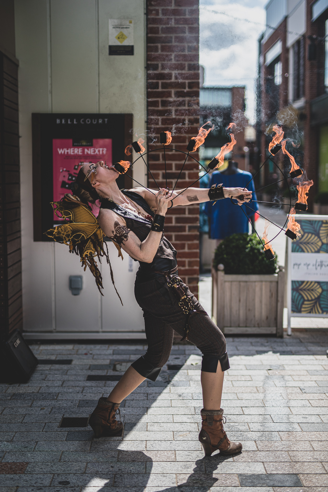 Woman juggling outside