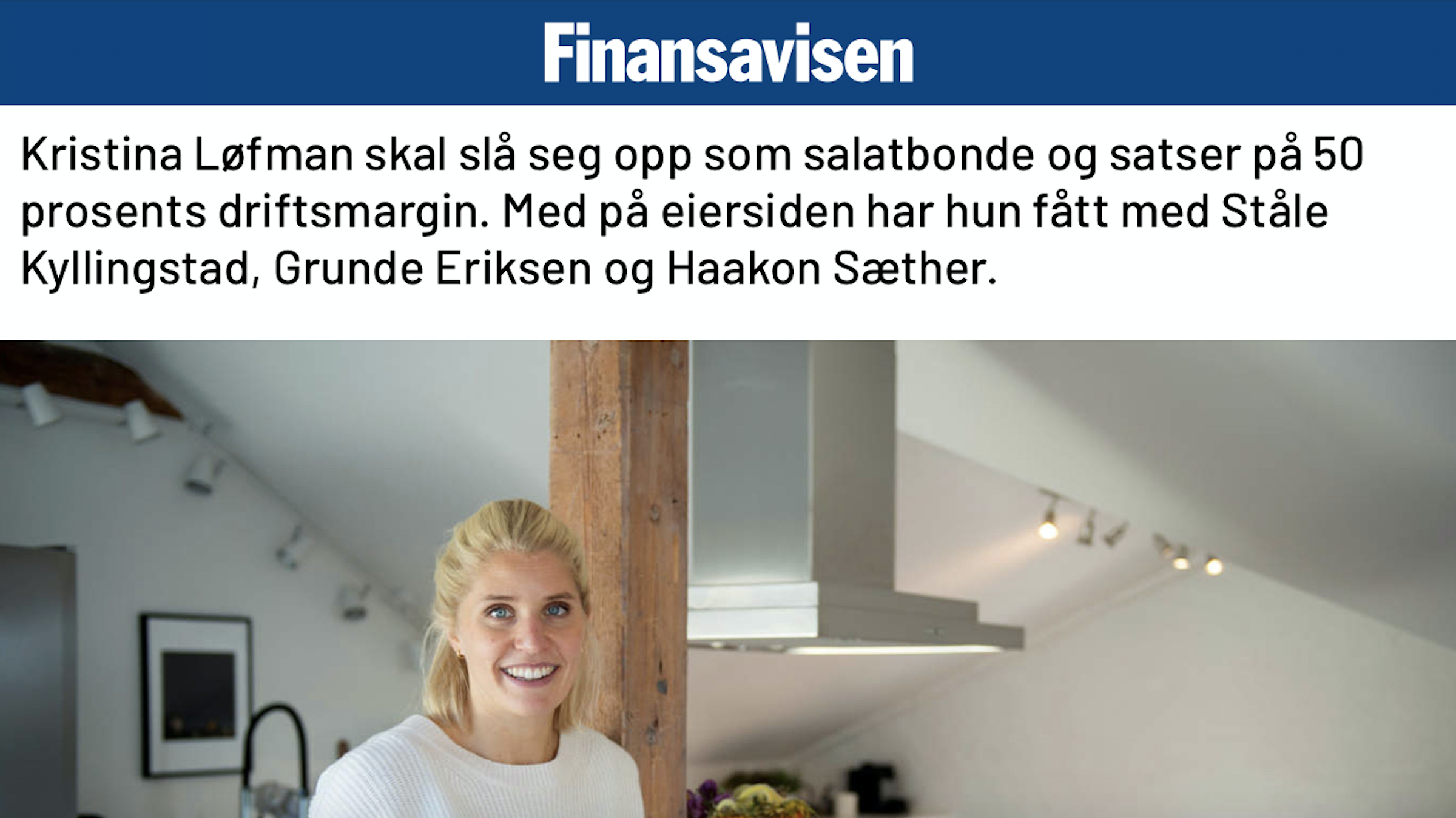 Image of Kristina Løfman from Finansavisen