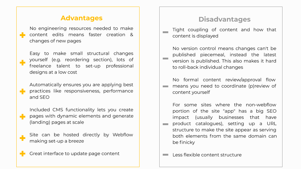 Advantages and disadvantages of Page Builder