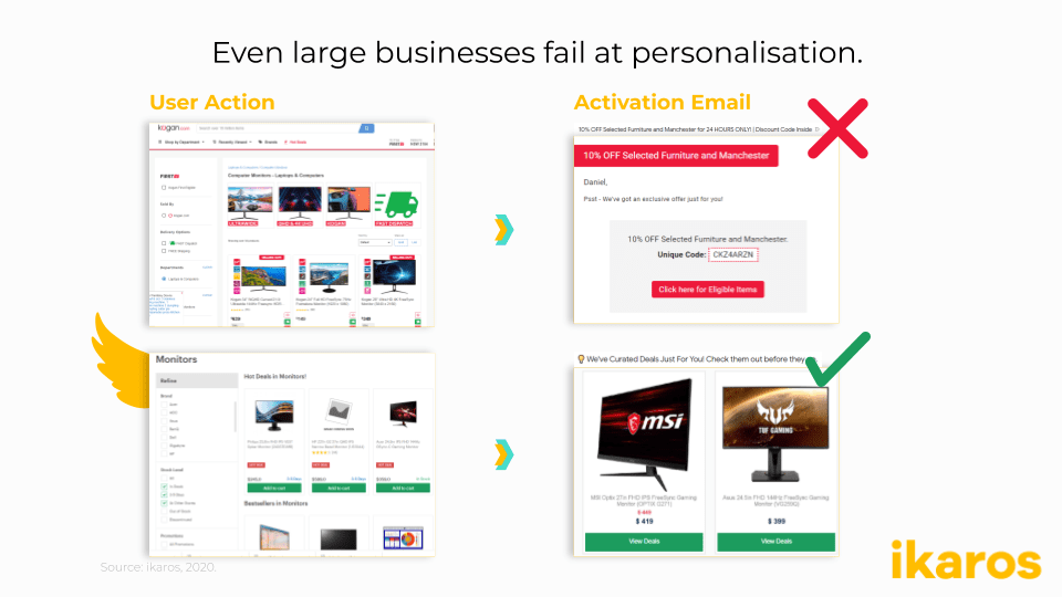 Even large businesses fail at personalisation.